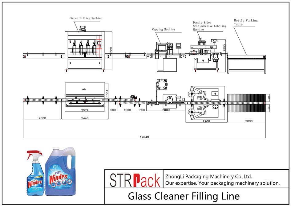 Automatische Glasreiniger-Fülllinie