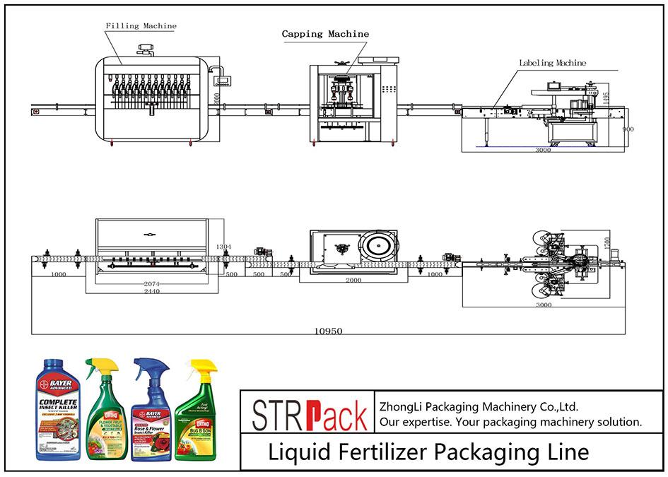 Automatische Flüssigdünger-Verpackungslinie